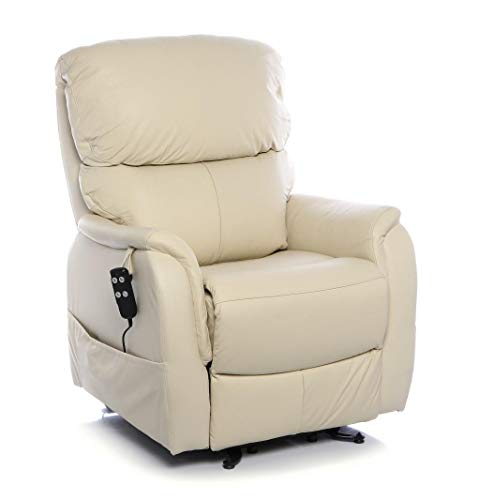 Montreal Dual Motor Riser Recliner Mobility Chair in Cream Leather