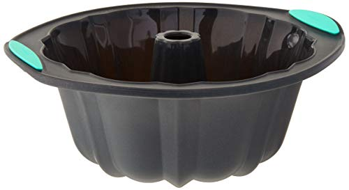Trudeau 5115204M 05115204M Structured Silicone Fluted Bundt pan 10 cup Grey amp Mint