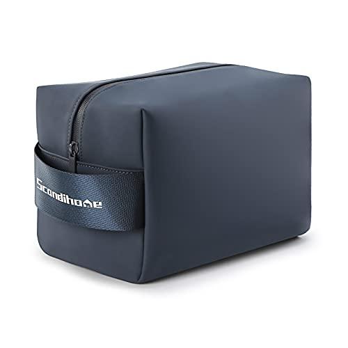 Dizdvizd Bolsas de Aseo para Mujeres y Hombre, Grande Neceser de Viaje, PU Impermeable Organizador de Cosméticos - Azul Marino