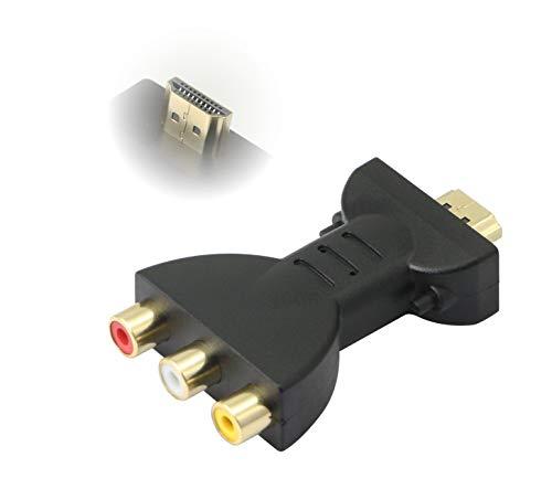 Preisvergleich Produktbild CERRXIAN HDMI-3RCA Rot Blau Grün AV-Videoadapter,  Vergoldeter HDMI-zu-3-RGB-RCA-Composite-Video-Audio-Konverter-Adapter