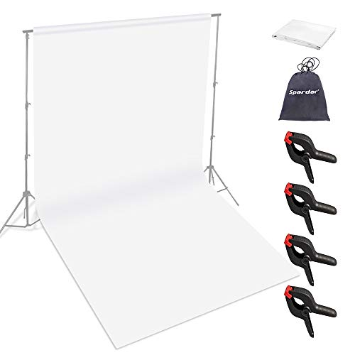 Spardar Blanco Screen 3M x 4.5M Tela de Fondo fotográfico 100% Puro algodón Muselina Pantalla Blanco Plegable Fondo de Estudio fotográfico para fotografía de Moda Sistema de telón de Fondo de Video
