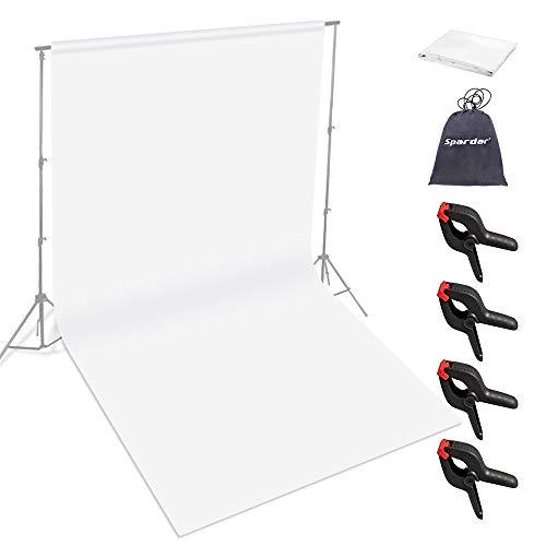 Spardar Pantalla de Fondo Fondo Plegable con Menos Arrugas (6 * 9FT / 2 * 3M Blanco) para Retrato, fotografía de Producto y grabación de Video