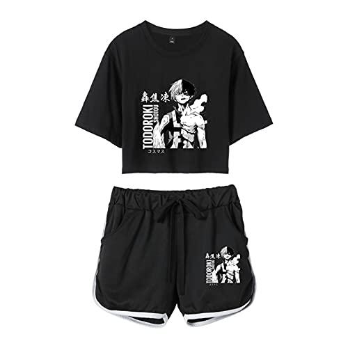 My Hero Academia Shoto Todoroki Impreso Harajuku Chicas 2 Piezas Conjunto de Kawaii Mujeres Inicio Traje Casual Streetwear Verano