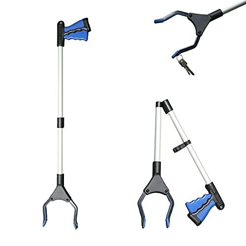 XKUN Faltbare Greifer,Handgreifer Werkzeug für Senioren Werkzeug mit rotierendem Gummigreiferit Magnetspitzen Aluminium 82 cm Langer 0°- 180° abgewinkelter Arm, 90° drehbarer Kopf für die Müllabfuhr