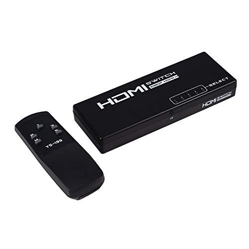 Hakeeta high-performance HDMI-versterker schakelaar-splitter met 5 aansluitingen met IR-afstandsbediening, 5-in-1-HDMI-schakelaar voor HD-DVD, Sky-STB, voor PS3, voor Xbox360 (zwart)