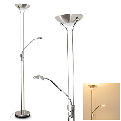 LED Stehlampe Rom aus Metall in Nickel-matt, dimmbare Stehleuchte Drehdimmer am Gehäuse, 1 x 18 Watt, 1600 Lumen u. 1 x 5 Watt, 480 Lumen, 3000 Kelvin (warmweiß), Deckenfluter m. verstellbarem Lesearm
