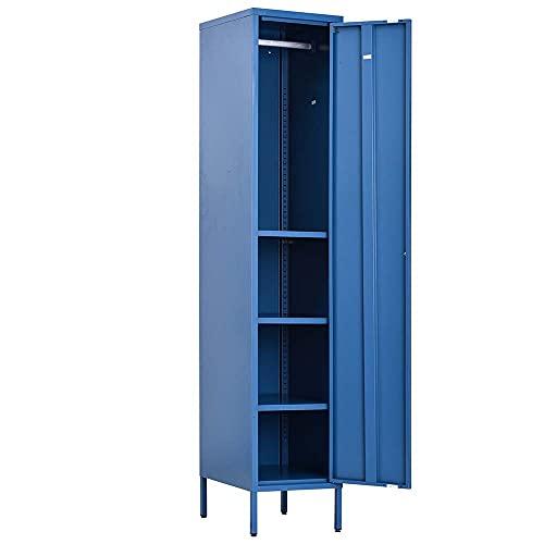 Bakaji Armadietto Armadio Mobile Mobiletto con Anta Asta Appendiabiti Attaccapanni 4 Ripiani in Metallo Design Moderno Industriale Colore Blu Dimensioni: 35 x 30 x 180 cm Arredamento Casa