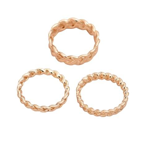Juego de 3 anillos trenzados chapados en oro