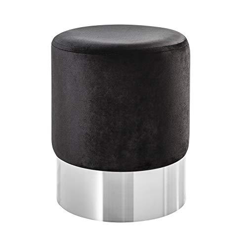 Invicta Interior Eleganter Sitzhocker MODERN BAROCK 35cm Samt schwarz Silber Beistelltisch Couchtisch Fußhocker Hocker Samtstoff