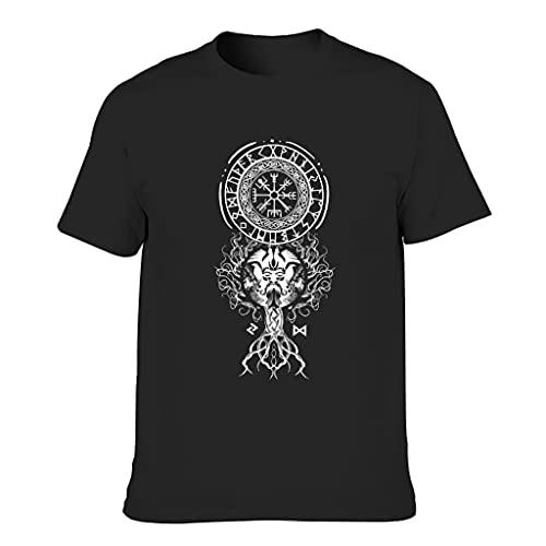 T-HGeschäft Camiseta con diseño de árbol vikingo y lobo para hombre, con estampado de vejos y lobo Negro XL