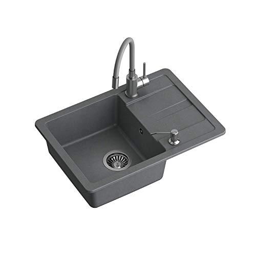 VBChome Spülbecken 62 x 44 cm Grau Granit Einzelbecken Einbauspüle gesprenkelt reversibel Verbundspüle + Spültischarmatur + Siphon + Spülmittelspender