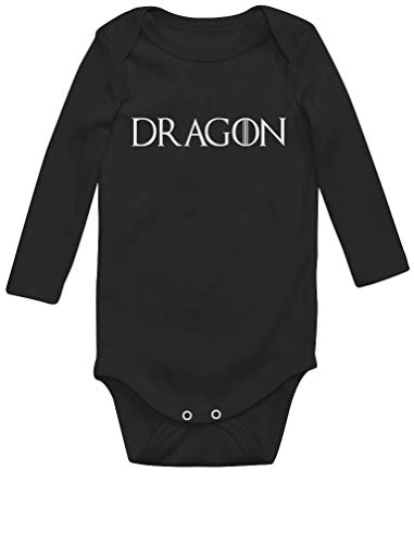 Green Turtle Dragon Body Bébé Manche Longue Newborn Noir