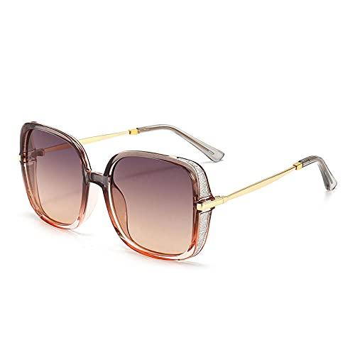 XDOUBAO Gafas de sol Gafas de sol PERSONALIDAD DE MUJERES Gafas de sol de cien gafas de conductor-Color foto_Té de pasto