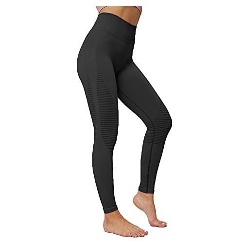 Pantalones Deportivos de Color Sólido para Mujer Leggings Tejido de Punto Leggins de Levante los Cadera de Cintura Alta Pantalón Fitness Absorbentes y Transpirables Mallas de Yoga Casual