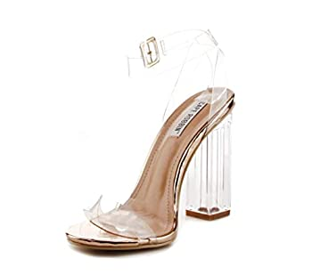 Cape Robbin Maria-2 Clear Chunky Block High Heels for Women Transparent Strappy Open Toe Shoes Heels for Women - Rose Gold Size 6.5