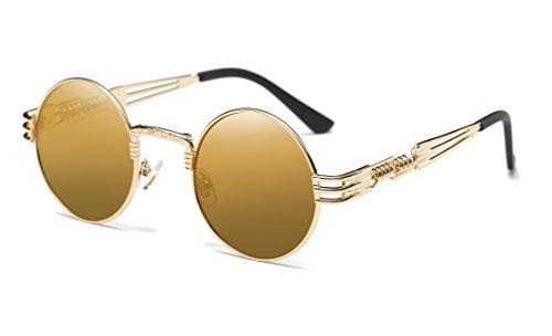 Dollger John Lennon Vintage Steampunk Sonnenbrille Frauen Männer Runde Hippie Sonnenbrille UV400 Metallrahmen(Braune Spiegellinse / Goldrahmen)