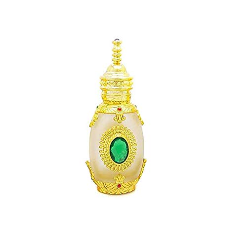 1 PCS 15ML 0.5OZ vide rechargeable doré bouteille de compte-gouttes en verre Upsacle avec pipette et pierres précieuses vertes pots de tatouage brodés fiole de parfum portable