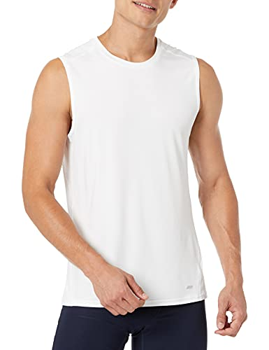 Amazon Essentials Men's Tech Stretch Performance Muscle Shirt, White, Large