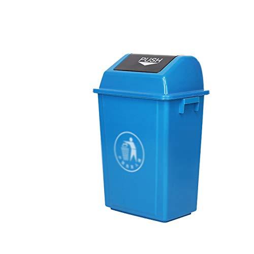 Chang-S-Q-123 Contenedores De Reciclaje Interior, Papel De Basura Plástico Espesado Con Tapa De La Sala De Estar En La Cocina Con Contenedores De Mostrador De Cocina Contenedores (Size:40L,Color:Azul)