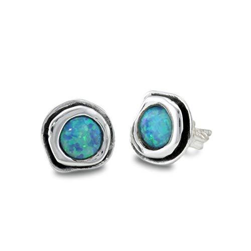 Banyan Jewellery - Orecchini da donna in argento Sterling 925 con opalite blu