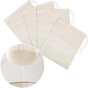 Tatuo 4 Pieces Cheesecloth Bags Nut Milk Strainer Muslin Bags Mesh Food Bags for Yogurt Coffee Tea Juice Wine Supplies… |