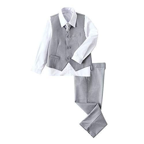 YuanLu Boys Gray Suit for Boy Vest Set with Pants Shirt and Tie Kids Outfit Size 3T