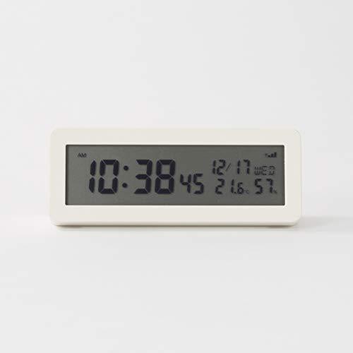 無印良品 デジタル電波時計(大音量アラーム機能付) 置時計・ホワイト