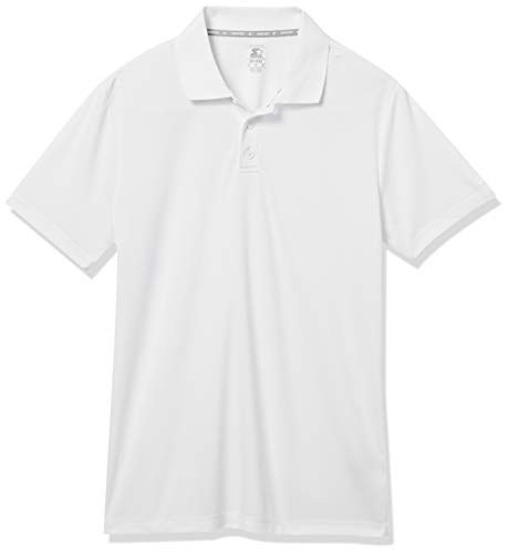 Starter Men's Short Sleeve Tech Golf Polo Shirt, Amazon Exclusive, White, XX-Large