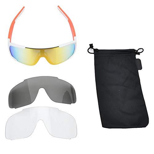 Deportes Al Aire Libre Gafas Polarizadas Gafas De Sol Anti-UV Gafas para Montar En Bicicleta Blanco Naranja