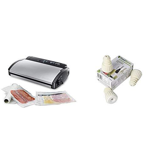 Food Saver V2860 - Envasadora al vacío, 2 tipos de envasado, 3 velocidades, color negro y plata + FoodSaver FSFSBS0024-050 - Tapón sellado al vacío para botellas (paquete de 3)