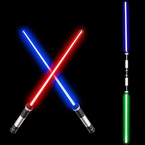 MAQRLT 2pcs Sable de Luces Pesado Duelo Juguete, Espada de Sable de luz 2 en 1 con Sonido, 7 Colores Ajustables y Longitud de Estiramiento, Espadas duales establecidas para favores