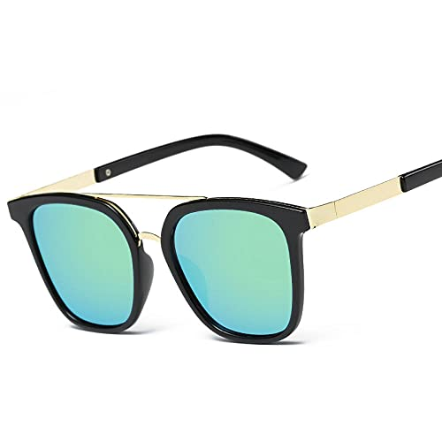 Gafas de sol para mujer retro redondo caja de cara en gafas de sol-Negro boxaba polvo_Disparo físico