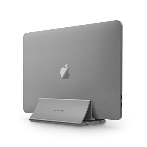 lention - Supporto verticale salvaspazio in alluminio, compatibile con MacBook Air/Pro 13 15, MacBook 12, iPad Pro 12.9, Surface Book, Chromebook e laptop da 11 a 17 pollici, notebook (grigio spazio)