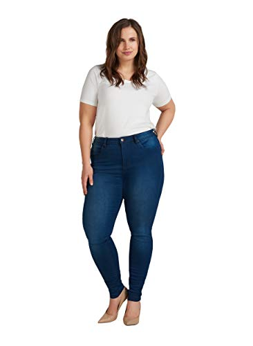 Zizzi Amy Damen Jeans Super Slim Jeanshose Stretch Hose Große Größen 42-56, Blau, 54 / 78 cm