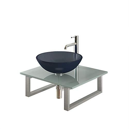 Alpenberger wastafelset Ø 42 cm incl. melkglasplaat 60 cm en roestvrij stalen console | ronde wastafel opzetwastafel Exclusieve wastafelplaat extra voor kleine en veeleisende badkamers