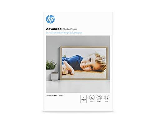 HP Advanced Glossy Q8697A, Confezione da 20 Fogli di Carta Fotografica Lucida, Originale HP, Compatibile con Stampanti a Getto di Inchiostro, 29.7 x 42 cm, A3, Grammatura 250 g/m², Bianca