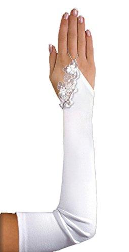 deine-Brautmode Brauthandschuhe Handschuhe lange fingerlose Armstulpen Hochzeit Spitze Kristallsteinchen, A151 50cm ivory