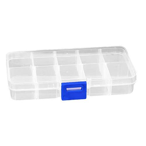 QinKingstore 10グリッドプラスチック製収納ボックス小部品ジュエリーツールボックスビーズピルオーガナイザーネイルアートチップケースホワイト&ブルー