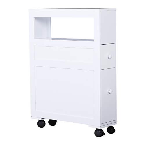 "HOMCOM 6"" x 20.5"" x 26"" Wood Rolling Narrow Bathroom Side Storage Cabinet - White"