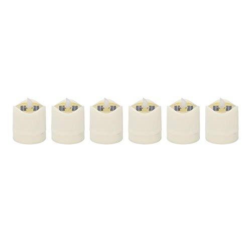 LED Zonne-energie Lamp, 6 Stks LED Kaars Vorm Cilindrische Kaars Vorm Licht Lamp Vlamloze Goede Decor Warm Wit voor Restaurant Bruiloft Gids Lichten