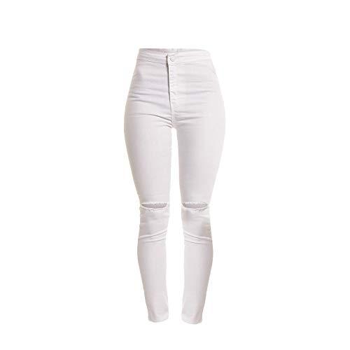 FRAUIT Dames Destroyed denim jeans broek casual dun vast gat lange jeans ritsen sexy dunne broek dagelijks broek