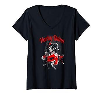Womens Harley Quinn Spring Gun V-Neck T-Shirt