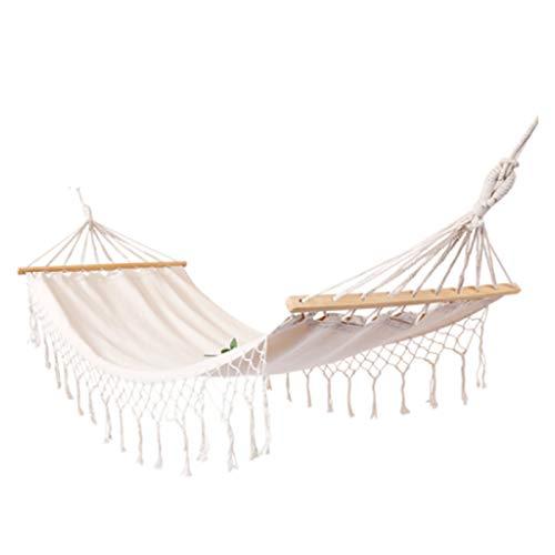TYXQ Hamaca Borla Silla Colgante Blanca Hamaca de algodón Borla Columpio Cama para Camping Interior hogar Ocio al Aire Libre
