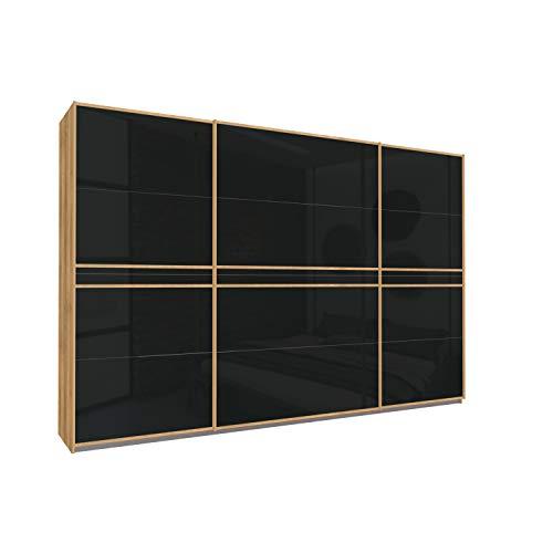 Bloomwood KUMOX Kleiderschrank, moderner Schwebetürenschrank 315 cm breit, 210 cm hoch 3-türig mit Einlegeböden und Kleiderstangen, Made in Germany, Eiche Riviere mit Schwarz Glas