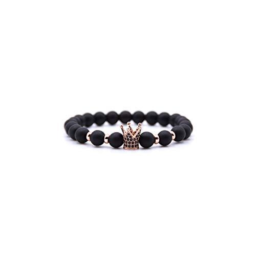 Awertaweyt Pulsera de Cuentas, Natural Stone Beads Men Micro Pave Bracelets For Women Handmade Punk Yogi Elastic Bracelet Jewelry Pulseira Hombres BA-011RG Size M 18-19cm