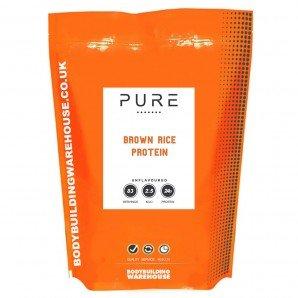 Bodybuilding Warehouse Pure Vegan Brown Rice Protein Powder - 24g Protein Per Serving - Unflavoured 1kg