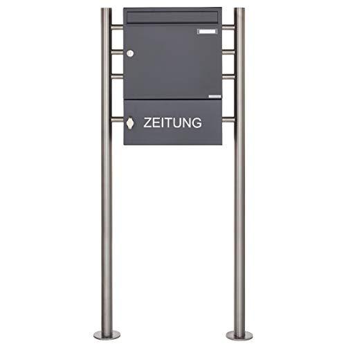 Standbriefkasten Design BASIC 381 ST-R mit Zeitungsfach geschlossen - RAL 7016 anthrazitgrau