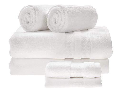 iDesign Juego de 6 Toallas de baño o Aseo de Invitados, Suaves Toallas de algodón 100%, Juego de Toallas con 2 de baño, 2 de Lavabo y 2 de tocador, Blanco