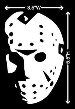 Jason Horror Movie Face WHITE Vinyl Car/Laptop/Window/Wall Decal