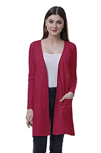 Moomaya Women Full Sleeve Shrug Open Front Long Pocket Cardigan Lightweight Knit Magenta